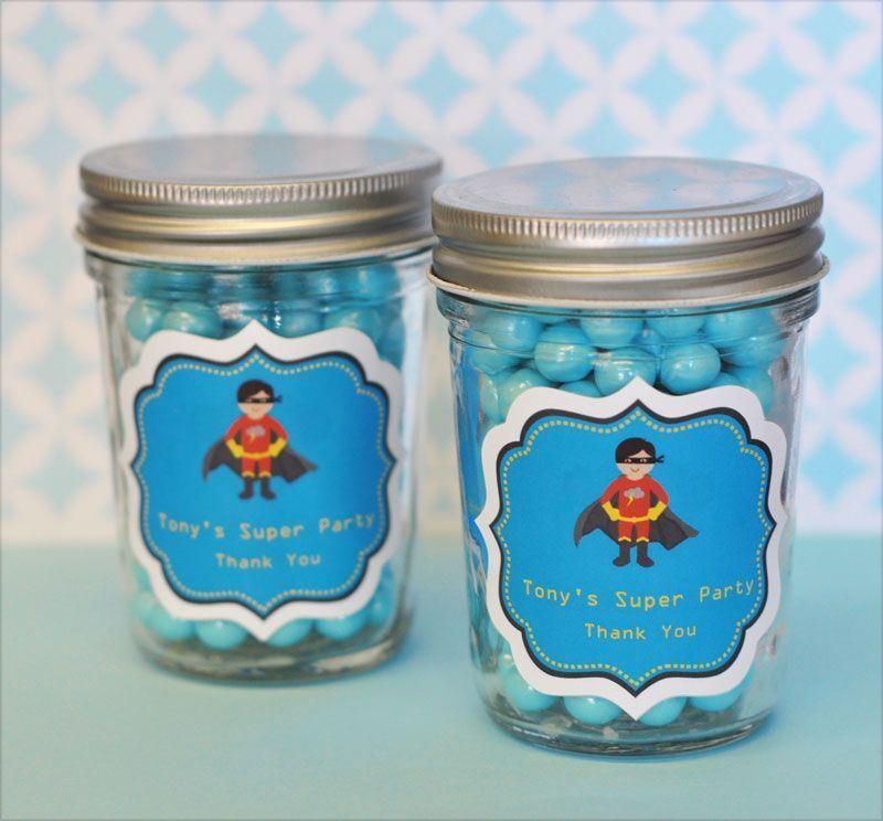 48 Personalized Super Hero Boy Theme Mini Mason Jars Birthday Party Favors