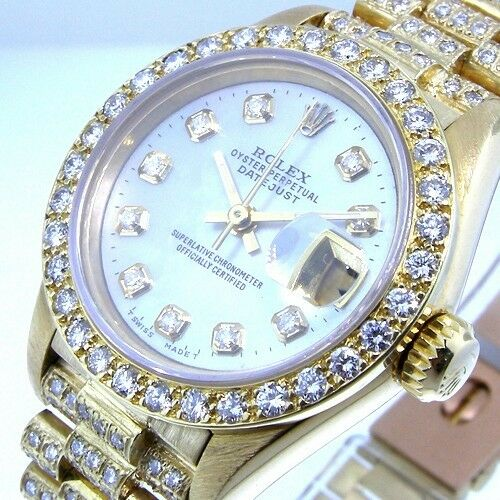 ROLEX 18K YELLOW GOLD PRESIDENTIAL WHITE MOTHER OF PEARL DIAMOND DIAL BEZEL