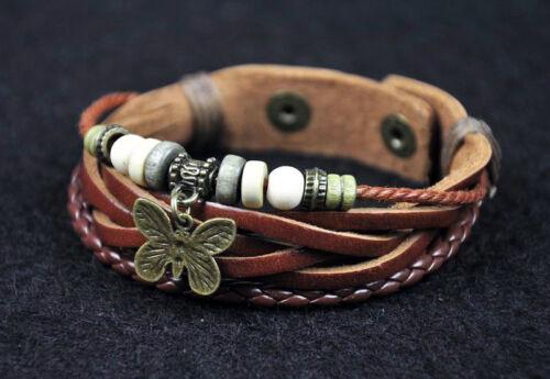 D54 Cool Hemp en cuir Bracelet Bracelet Bracelet Réglable Hommes Femmes Marron