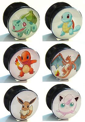 Acrylic Screw 6 Pokemon Designs Ear Tunnel Plug 6mm to 25mm