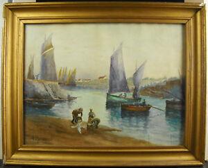 R Bourgeois Aquarelle C1930 Retour De Pêche Port Voiliers Fishermans Boat Paint Jwi7zhca-10103232-757990140