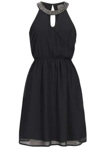 50/% OFF B16070759 Damen Vero Moda Kleid Midi Pailletten /& Perlen Zipper schwarz