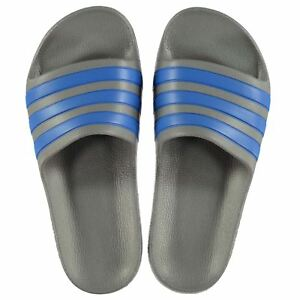 88861edfc706 NEW Adidas Kids Duramo Sliders Flip Flops GRAY BLUE SIZE FROM 1-2-3 ...