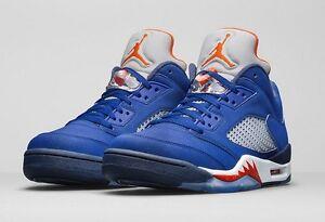 Détails sur Air Jordan 5 V Retro Low 'Knicks's Deep Royal Blue Team Orange Bleu Marine 819171 417 afficher le titre d'origine