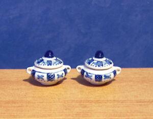 1/12 Dolls House Miniature 2 Blue Tureen bowls & Lid serving bowl pot Lounge LGW