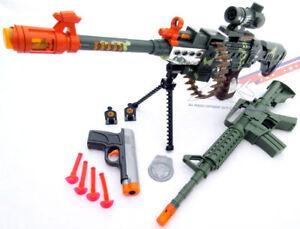 2x Toy Guns Green M-16 Machine Gun Toy Rifle /& Grey 9MM Dart Pistol Set