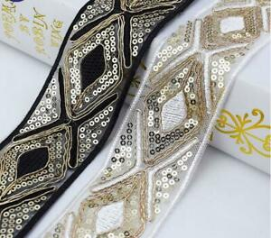 1Yard-Ethnic-Sequins-Trim-Embroidered-Webbing-Dress-Ribbon-Decor-Lace-DIY-Sewing