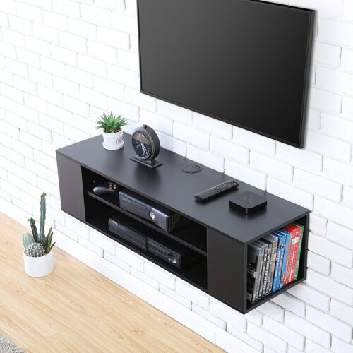 Black Media Console Floating Wall Mount TV Stand Entertainment Unit Living Room