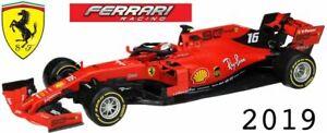BURAGO 36815A FERRARI SCUDERIA F1 model car Charles LeClerc number 16 2019 1:43