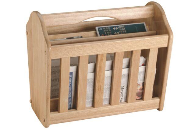 Standing Magazine Rack Rubberwood Newspaper MailWooden Shelf Storage Holder