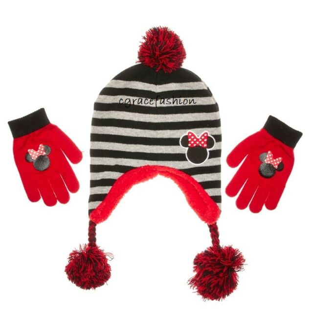 6620d3faf3a Disney Minnie Mouse Girl Winter Fur Lined Laplander Beanie Trapper Hat  Glove Set
