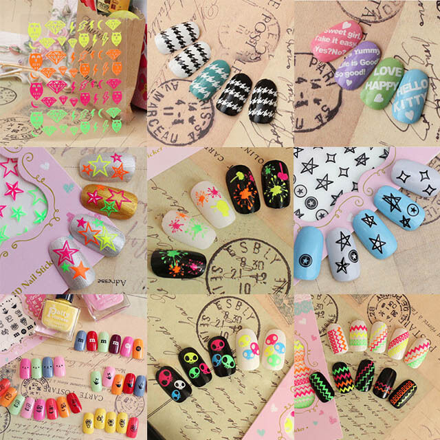 3D Acrylic Nail Art Tips Stickers DIY Colorful Decal Wraps Manicure Decorations