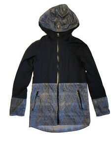 Ivivva-Lululemon-Girls-Mesh-With-The-Rain-Jacket-Size-8-Windbreaker-Black-Hood