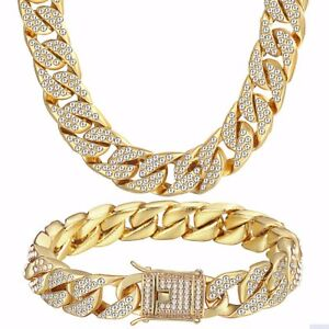 Men-Boys-Curb-Cuban-Chain-Crystal-Necklace-Bracelet-Gold-Plated-Miami-Clasp-Link