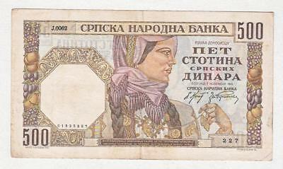 ## Serbien ## 500 Dinara ## 01.11.1941 ## Wz Männerkopf ## Serie 227