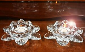 SET-OF-2-CRYSTAL-CUT-LOTUS-FLOWER-ORNAMENT-CLEAR-COLOUR-CHRISTMAS-GIFT