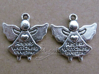 P126 10pcs Tibetan Silver Charms 2-Sided Angel  Accessories Findings Wholesale