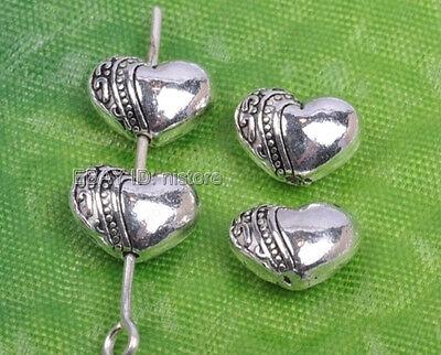 50pcs tibetan silver Heart Shaped loose Spacer Beads 7X10mm DIY Findings