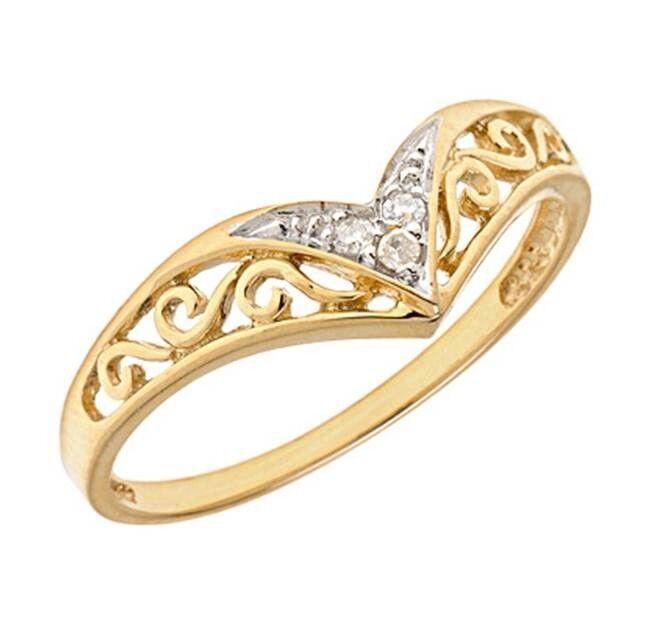 10K Yellow gold Victorian Style Genuine Diamond Promise Ring