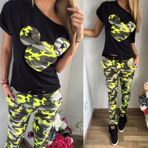 2tlg Damen Mickey Maus Trainingsanzug Kurzarm Bluse Tops Sweathose Jogginganzug