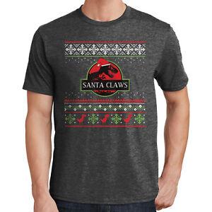 Jurassic Park Santa Claws Ugly Christmas Sweater Shirt Dino Santa