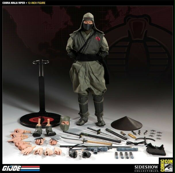 Sideshow SDCC Exclusive Cobra Viper Green Ninja 1 6 Scale 12  GI Joe Figure New
