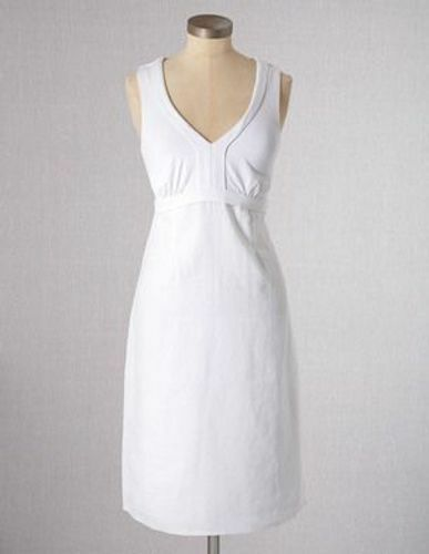 NEW BODEN WHITE LINEN & JERSEY DRESS WH505 SIZE US 8
