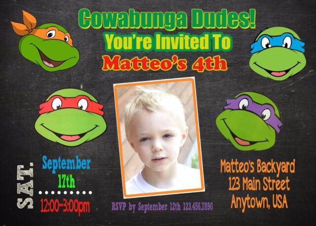 Teenage Mutant Ninja Turtle Invitation Tmnt Invitations Ebay