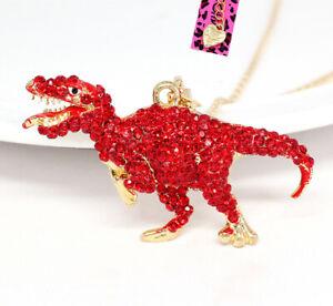 Betsey-Johnson-Crystal-Rhinestone-Dinosaur-Tyrannosaurus-Pendant-Chain-Necklace