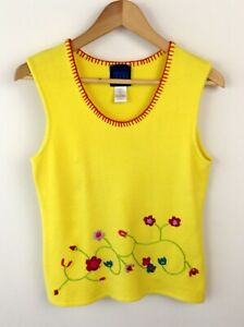 Kenzo-Jeans-Top-para-Mujer-UK-Size-8-10-Amarillo-Flor-emroidery-Puente