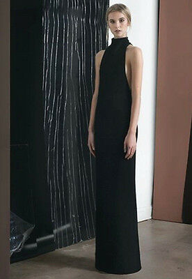 ZAID AFFAS $5390 cut away side full length gown black mock neck maxi dress 2 NEW