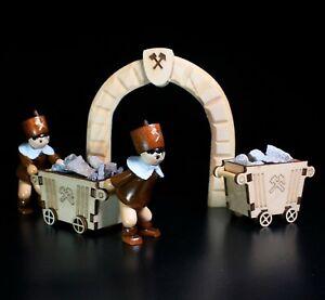 Miniatur Engel mit Schwibbogen NEU Erzgebirge Volkskunst Original Bergmann Holz