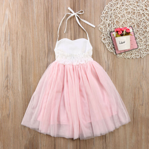 Princess Wedding Party Prom Birthday Dress Skirt Tutu Dresses for Baby Girl 2-7Y