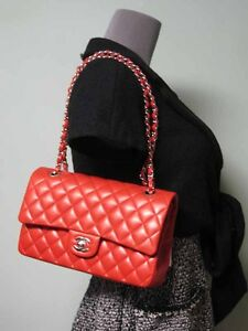 91769b80f0d4 Image is loading Chanel-AUTH-Quilted-Red-Smooth-Lambskin-Classic-Double-