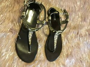 GUESS-BROWN-THONG-ANKLE-STRAP-G-ALL-OVER-DESIGN-FLAT-SANDAL-SIZE-9M