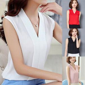 Women-Office-Work-Wear-V-Neck-Shirts-Sleeveless-Chiffon-Casual-Tees-Tops-Blouses