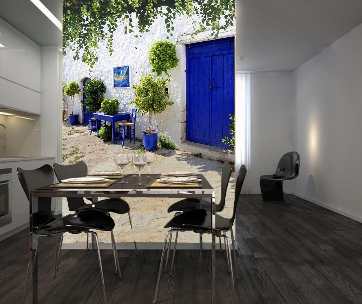 3D Blauer Hof Stil 963 Tapete Wandgemälde Tapete Tapeten Bild Familie DE Summer