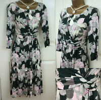 M&S LADIES GREEN WHITE GREY PINK FLORAL WRAP SUMMER VINTAGE 50'S TEA DRESS RRP49