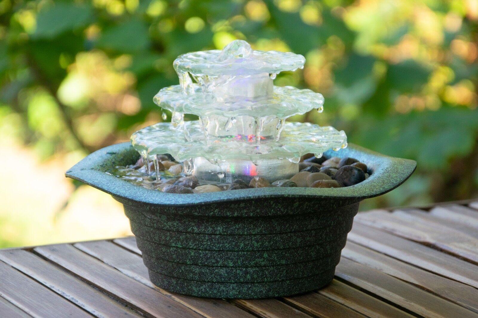 Design Zimmerbrunnen  Blüte  mit LED-Licht Wasserspiel Wasserspiel Wasserspiel Tischbrunnen Zierbrunnen 8ca038