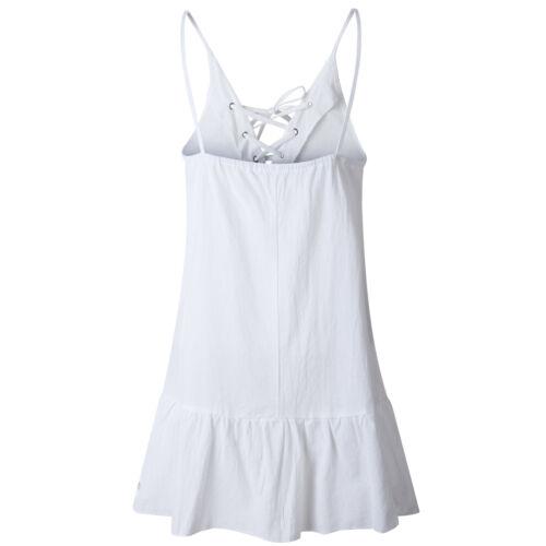 Damen Strandkleid Boho Kleider Sommerkleid Spaghettiträger Minikleid Lang Tops