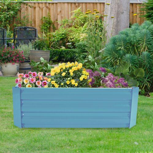 Agfabric Garden Metal Raised Galvanized Blue Planter Vegetable Flower Bed 3X4ft