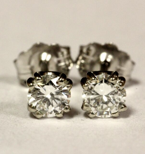14k white gold .36ct SI2 H Double U prong round diamond stud earrings estate