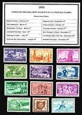 1953 COMPLETE YEAR SET OF MINT -MNH- VINTAGE U.S. POSTAGE STAMPS