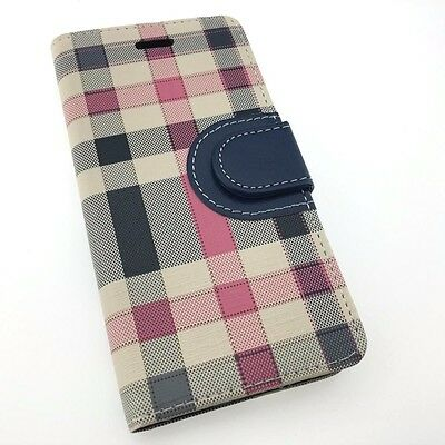 Samsung Galaxy S6/S7/ S7 EDGE Leather Wallet Flip Plaid Stripe Tartan Cover Case