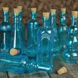 Vintage-Glass-Bottles-with-Corks-Bud-Vases-Assorted-Shapes-5-Inch-Tall-Set
