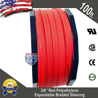 """100 FT 3//8/"""" Black Expandable Wire Cable Sleeving Sheathing Braided Loom Tubing"""