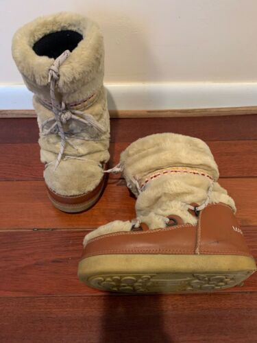 Marc Jacobs Brown Leather And Fur Snow Boot Size 8
