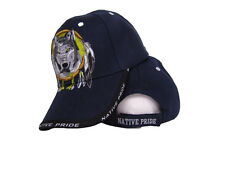 Native American Pride Wolf In Dream Catcher Navy Blue Baseball Ball Cap Hat