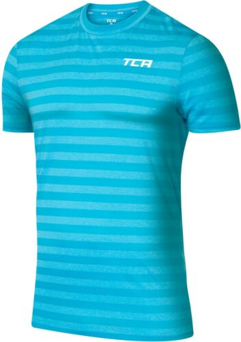 TCA QuickDry Mens Training Top Blue Striped Short Sleeve Gym Workout T-Shirt