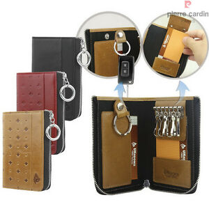 Genuine-Leather-Zip-Key-Wallet-Case-Card-Holder-Purse-Pouch-Car-Keyrings-Mens
